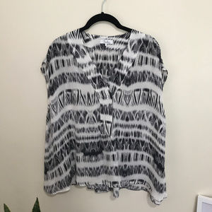 PARKER silk printed oversized split neck top AK21